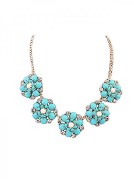 Latest Occident New Sweet Flowers Simple Hot Sale Necklace
