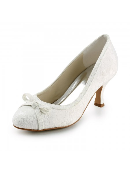 Latest Women's Satin Spool Heel Closed Toe Pumps Ivory Wedding Shoes With Bowknot