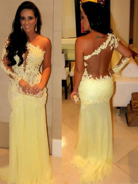 Sheath One-Shoulder Applique Sweep/Brush Train Chiffon Prom Dresses