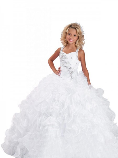 Straps Beading Organza Ball Gown Flower Girl Dresses