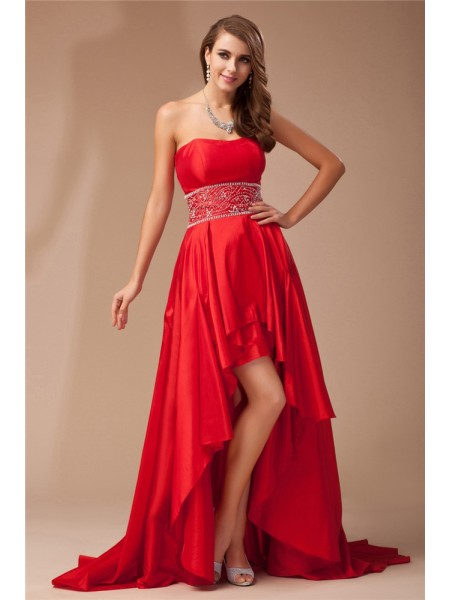 A-Line Strapless High Low Beading Taffeta Prom Dresses
