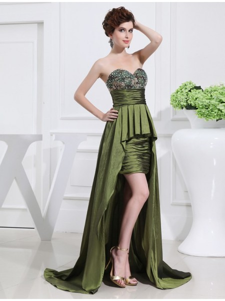 A-Line Beading Sweetheart High Low Taffeta Prom Dresses