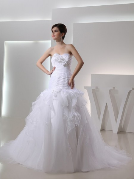 Mermaid Sweetheart Hand-made Flower Organza Wedding Dresses