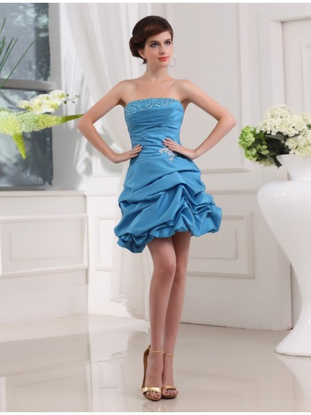 A-Line Beading Strapless Short Taffeta Homecoming Dresses
