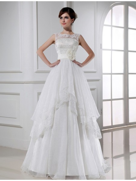A-Line Beading Lace Organza Wedding Dresses