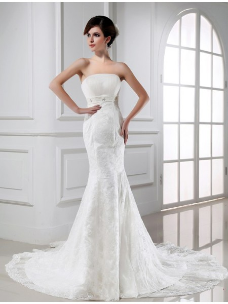Mermaid Beading Strapless Lace Tulle Wedding Dresses