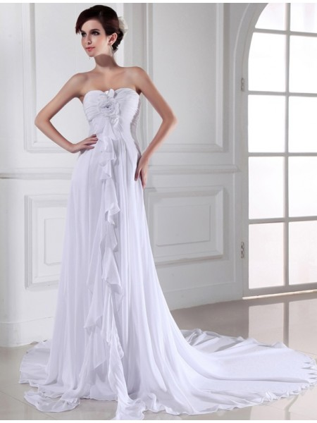 Sheath Hand-made Flower Sweetheart Chiffon Wedding Dresses