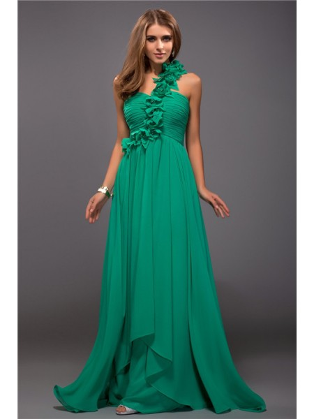 Sheath One Shoulder Ruffles Hand-Made Flower Chiffon Prom Dresses