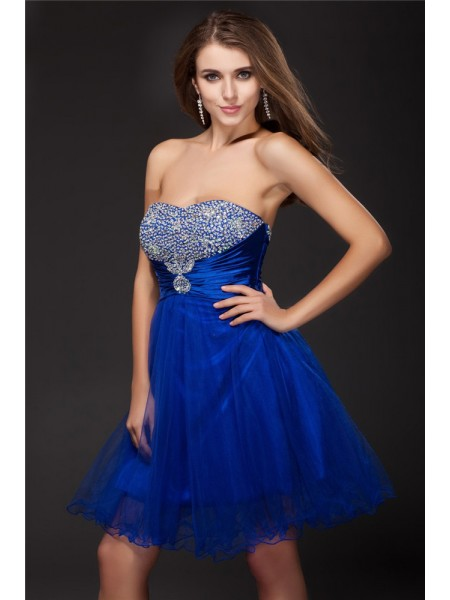 A-Line Strapless Beading Short Net Elastic Woven Satin Homecoming Dresses