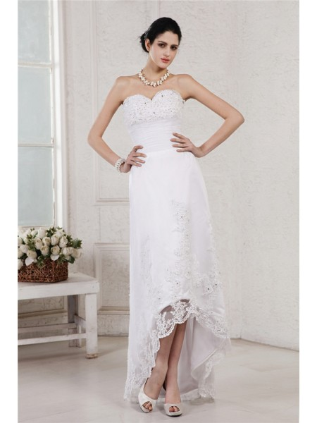 Sheath Sweetheart Beading Applique High Low Organza Wedding Dresses