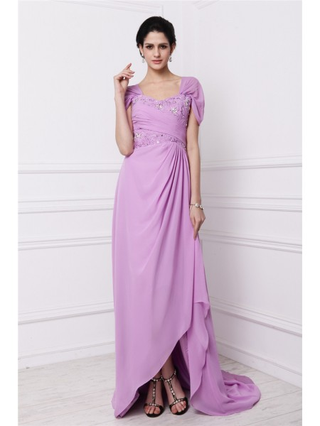 Sheath Square Beading Embroidery Chiffon Mother of the Bride Dresses