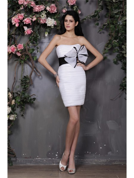Sheath Strapless Bowknot Pleats Short Organza Homecoming Dresses