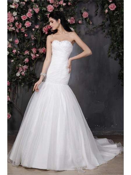 Mermaid Sweetheart Beading Pleats Ruffles Organza Wedding Dresses