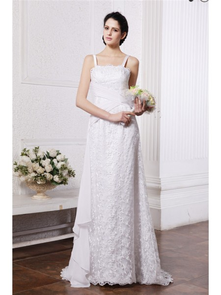 Sheath Square Neck Ruffles Ruched Chiffon Net Wedding Dresses