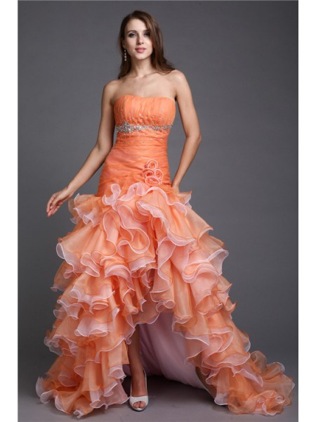 Strapless Beading High Low Organza Cocktail Ball Gown Prom Dresses