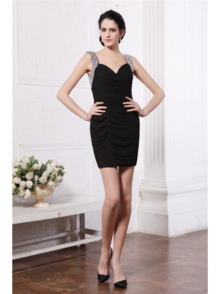 Sheath Straps Beading Short Chiffon Homecoming Dresses