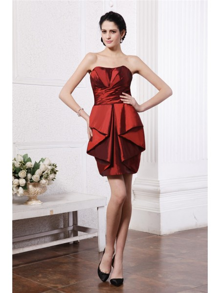 Sheath Strapless Pleats Short Taffeta Homecoming Dresses