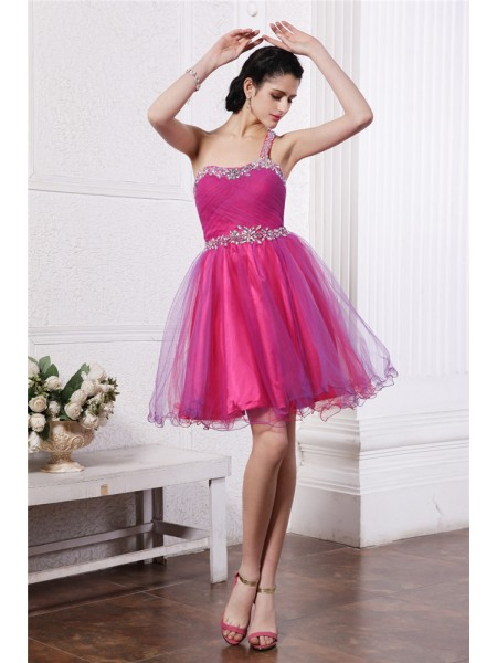 A-Line One-Shoulder Beading Short Organza Homecoming Dresses