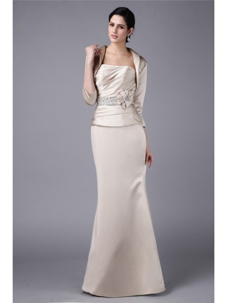 Sheath Strapless Beading Hand-Made Flower Elastic Woven Satin Mother of the Bride Dresses