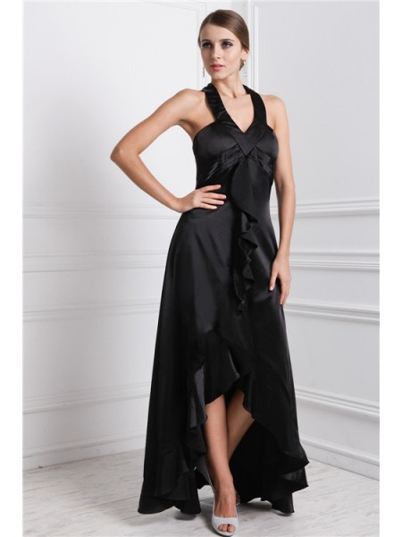 A-Line Bateau Ruffles High Low Silk like Satin Prom Dresses