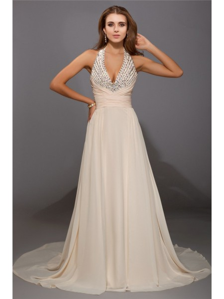 Sheath V-neck Beading Chiffon Prom Dresses
