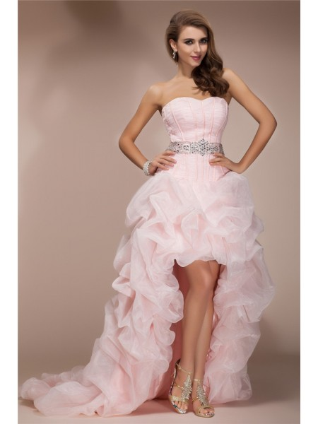 A-Line Sweetheart High Low Beading Organza Prom Dresses