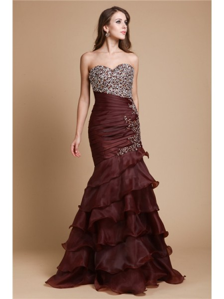 Mermaid Sweetheart Beading Organza Prom Dresses