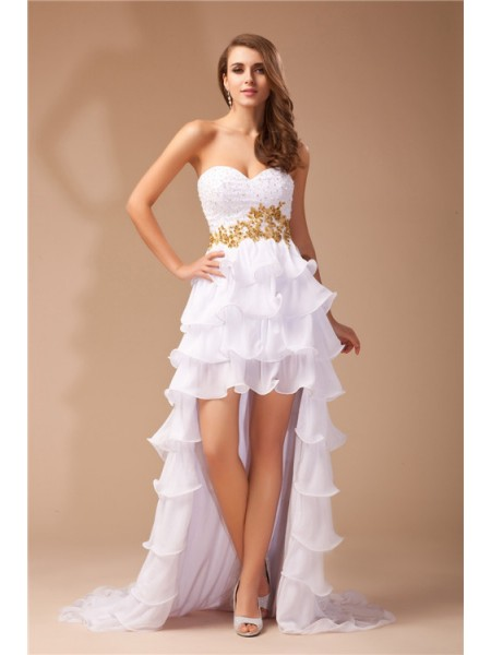 A-Line Sweetheart High Low Beading Chiffon Prom Dresses