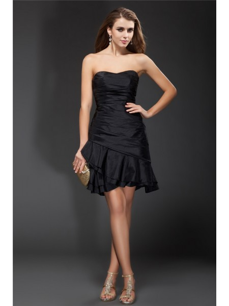 A-Line Strapless Ruffles Short Taffeta Homecoming Dresses