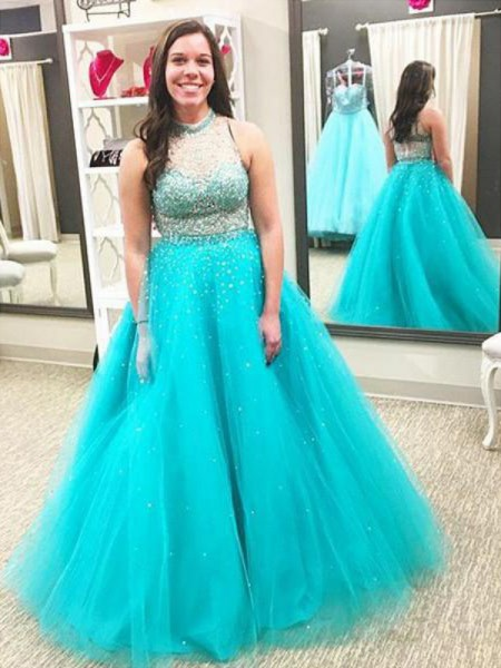 High Neck Beading Floor-Length Tulle Plus Size Ball Gown Prom Dresses