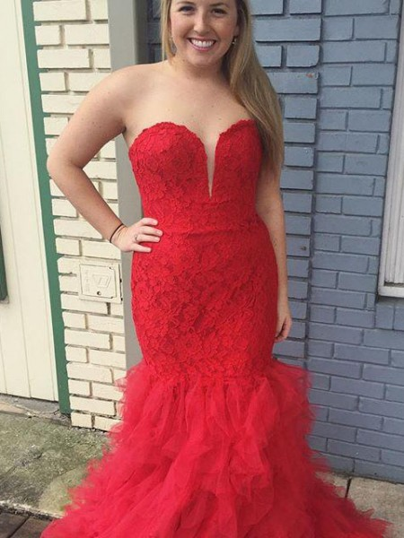 Mermaid Sweetheart Lace Sweep/Brush Train Tulle Plus Size Prom Dresses