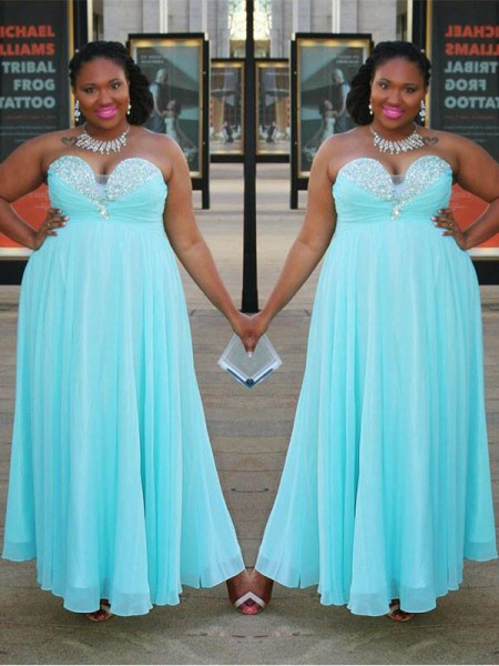 A-Line Sweetheart Beading Floor-Length Chiffon Plus Size Prom Dresses