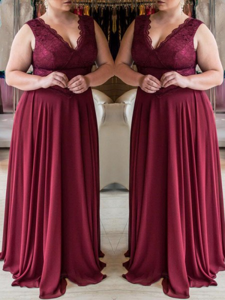 A-Line V-neck Lace Sweep/Brush Train Chiffon Plus Size Prom Dresses