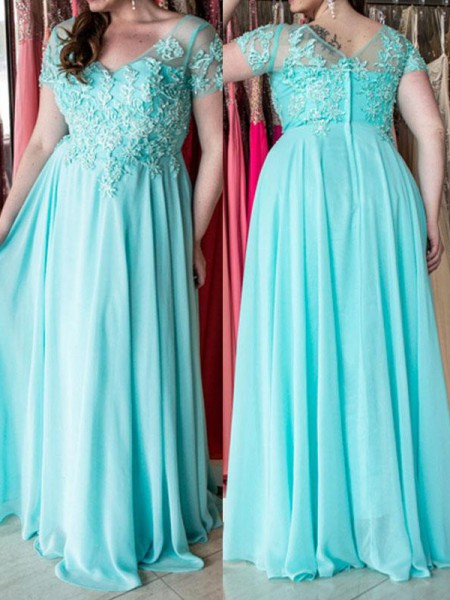 A-Line Sweetheart Applique Floor-Length Chiffon Plus Size Prom Dresses