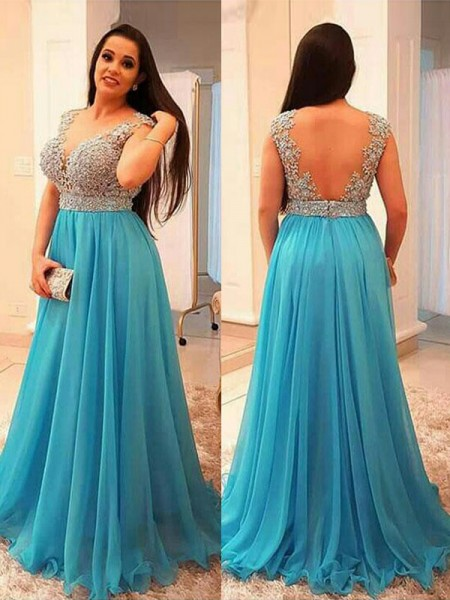 A-Line V-neck Beading Floor-Length Chiffon Plus Size Prom Dresses