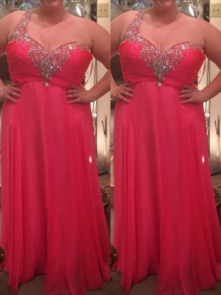A-Line One-Shoulder Beading Floor-Length Chiffon Plus Size Prom Dresses