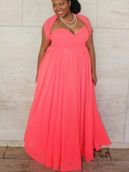 A-Line Sweetheart Ruched Floor-Length Chiffon Plus Size Prom Dresses