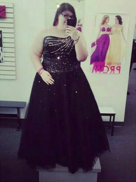 One-Shoulder Beading Floor-Length Tulle Plus Size Ball Gown Prom Dresses
