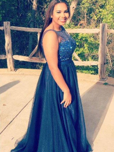 A-Line Sheer Neck Beading Floor-Length Tulle Plus Size Prom Dresses