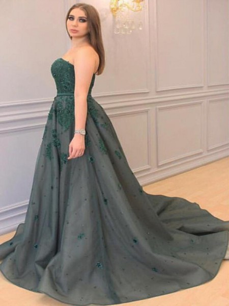 A-Line Sweetheart Applique Court Train Tulle Plus Size Prom Dresses