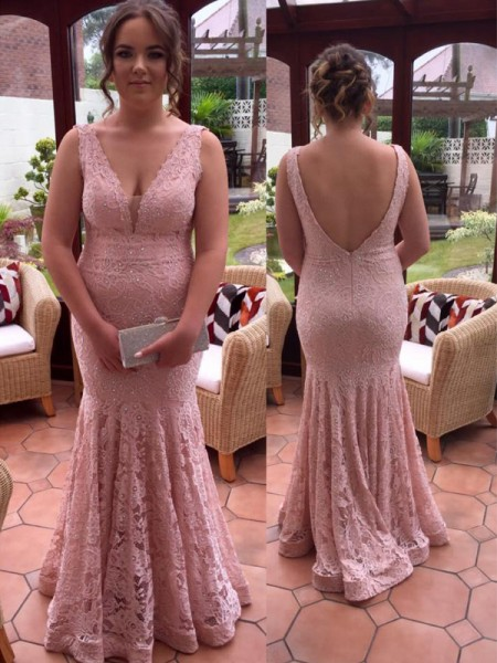 Mermaid V-neck Beading Floor-Length Lace Plus Size Prom Dresses