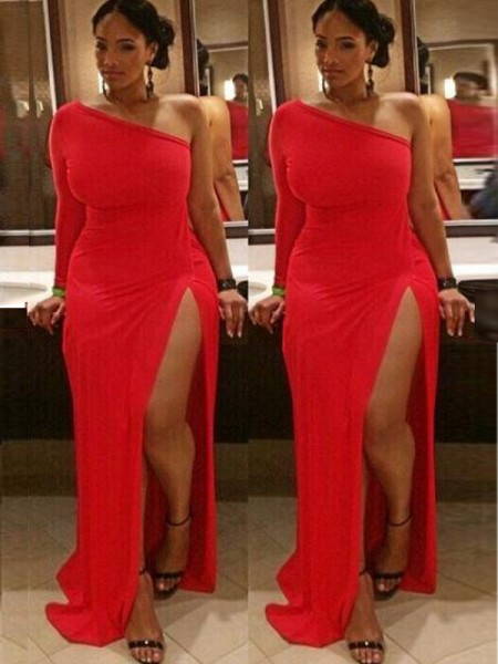 Sheath One-Shoulder Ruched Sweep/Brush Train Spandex Plus Size Prom Dresses