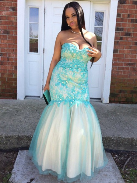 Mermaid Sweetheart Applique Floor-Length Tulle Plus Size Prom Dresses