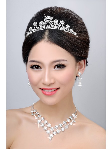 Cheap New Style Alloy Clear Crystals Flower Wedding Headpieces Necklaces Earrings Set