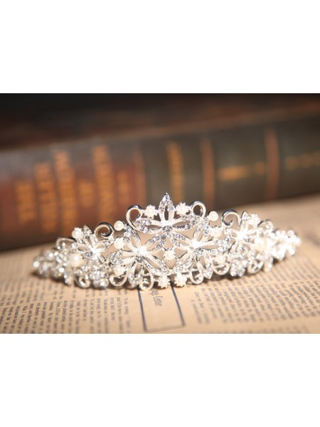 Nice Alloy Clear Crystals Pearls Wedding Headpieces