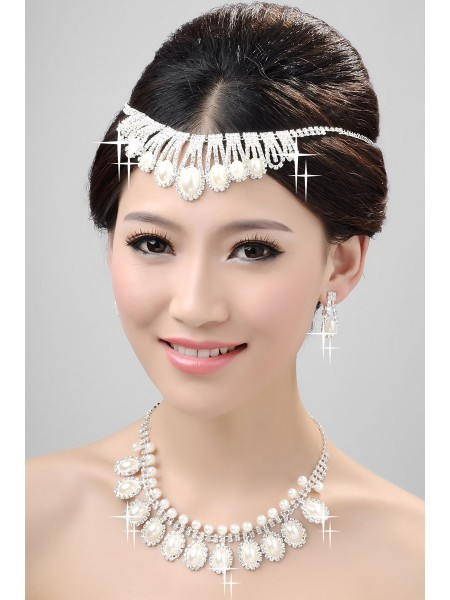 Cheap Nice Alloy Clear Crystals Pearls Wedding Headpieces Necklaces Earrings Set