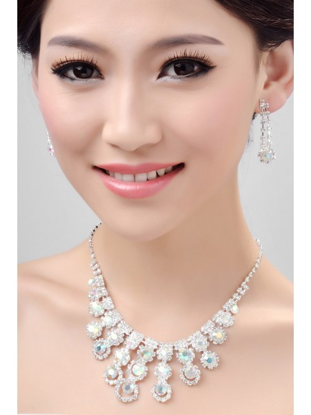 Fashion Nice Alloy Rainbow Crystals Wedding Necklaces Earrings Set