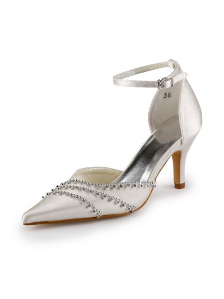 Latest Women's Nice Satin Stiletto Heel Closed Toe Champagne Wedding Shoes With Buckle