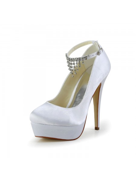 Latest Women's Nice Satin Stiletto Heel Closed Toe With Rhinestone White Wedding Shoes