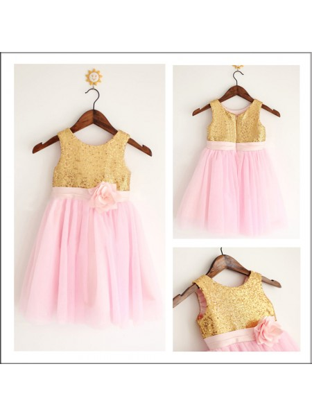 A-Line Scoop Sequin Tulle Flower Girl Dresses